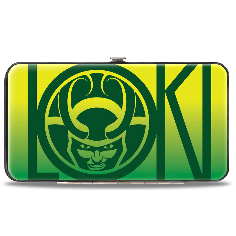 MARVEL AVENGERS Hinged Wallet - LOKI Text with Face Icon + Loki Face CLOSE-UP Yellows Greens