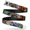 DC COMICS BOMBSHELLS Rays Full Color Black Gray Orange-Red Fade Seatbelt Belt - 8-DC Bombshell Comic Book Covers Stacked Webbing