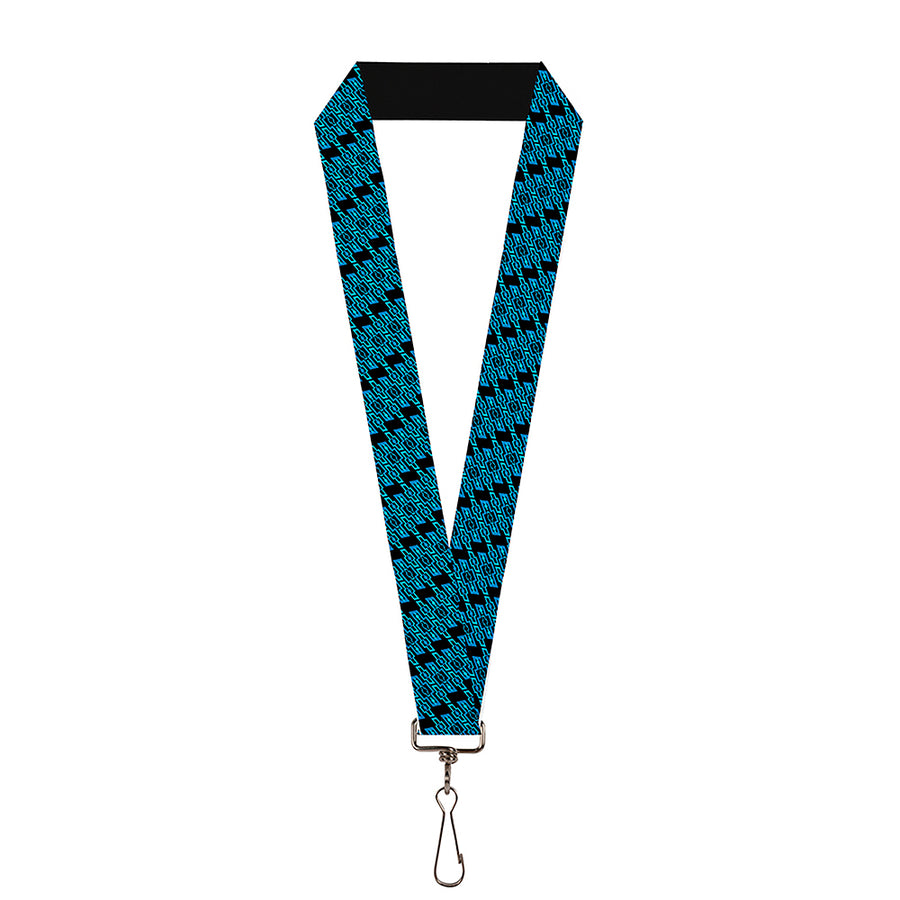 "Lanyard - 1.0"" - Diagonal Retro Chevy Bowtie Monogram Black Blues"