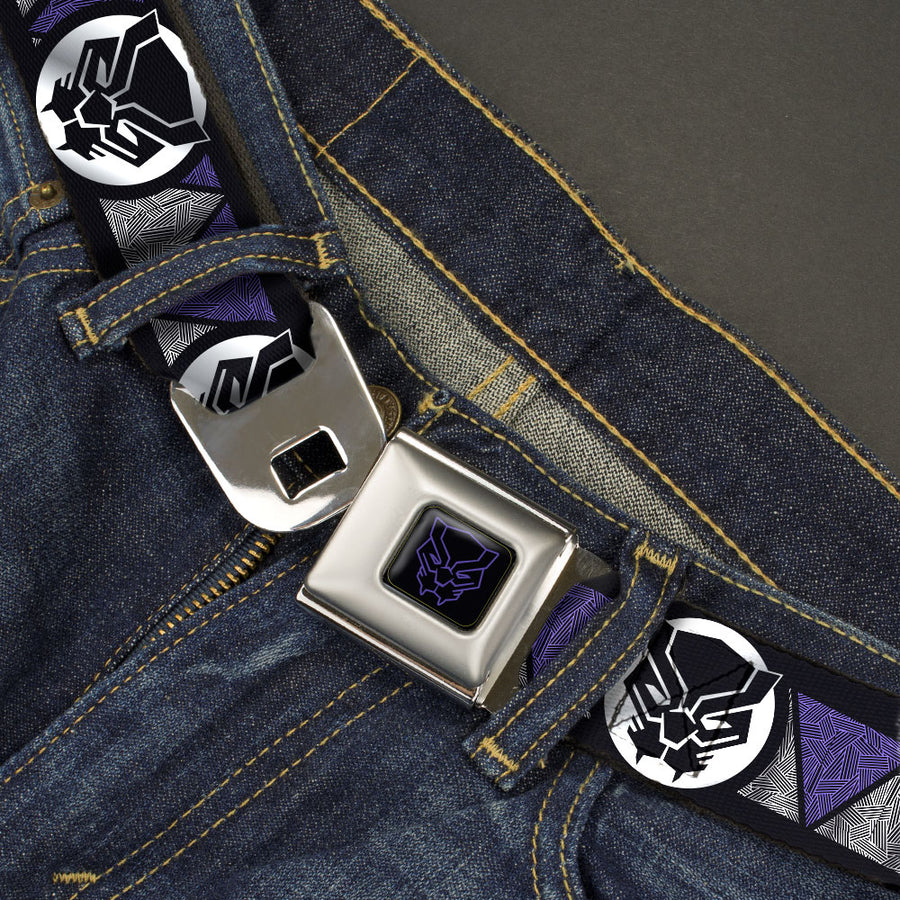Black Panther Icon Full Color Black/Purple Seatbelt Belt - Black Panther Avengers Icon/Triangles Black/Silvers/Purples Webbing
