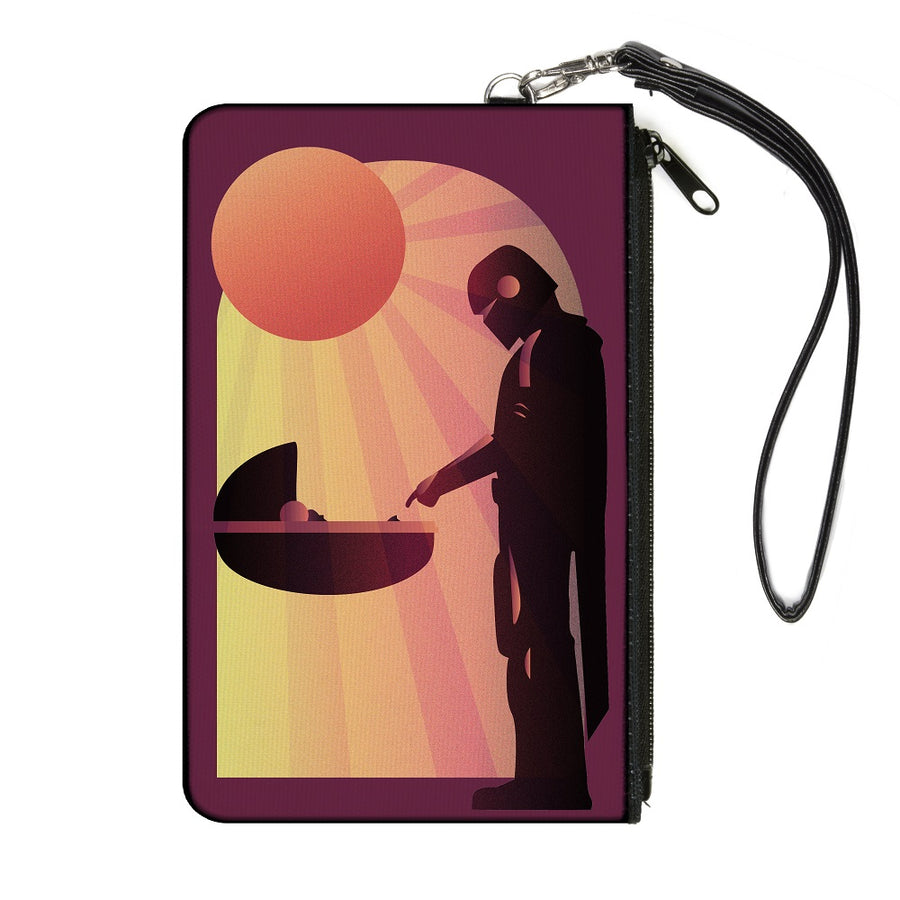 Canvas Zipper Wallet - SMALL - Star Wars The Child and The Mandalorian Touching Fingers Sun Rays Burgundy Oranges