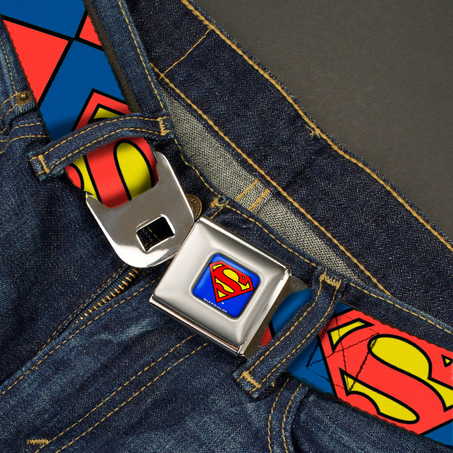 Superman Full Color Blue Seatbelt Belt - Superman Shield CLOSE-UP Blue/Red/Yellow Webbing