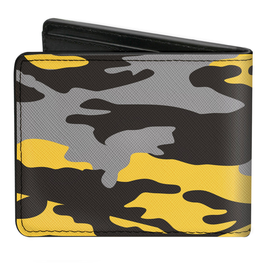 Bi-Fold Wallet - Harry Potter Hufflepuff Crest Camo Yellow Grays Black