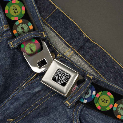 BD Wings Logo CLOSE-UP Full Color Black Silver Seatbelt Belt - Poker Chips 1 Webbing