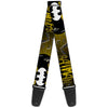Guitar Strap - BATMAN w Bat Signals & Flying Bats Yellow Black White