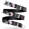 DC Round Logo Black/Silver Seatbelt Belt - Batgirl/Wonder Woman/Supergirl Retro Panels Black/Pink/White Webbing
