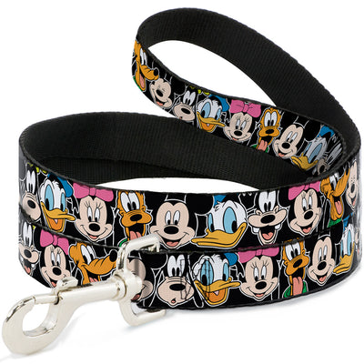 Dog Leash - Classic Disney Character Faces Black