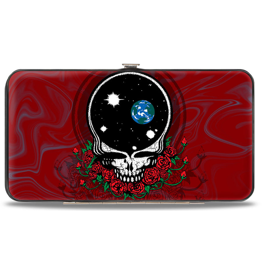 Hinged Wallet - Space Your Face Swirl Red Grays