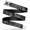 BD Wings Logo CLOSE-UP Black/Silver Seatbelt Belt - Americana Flag/WE THE PEOPLE Black/White Webbing
