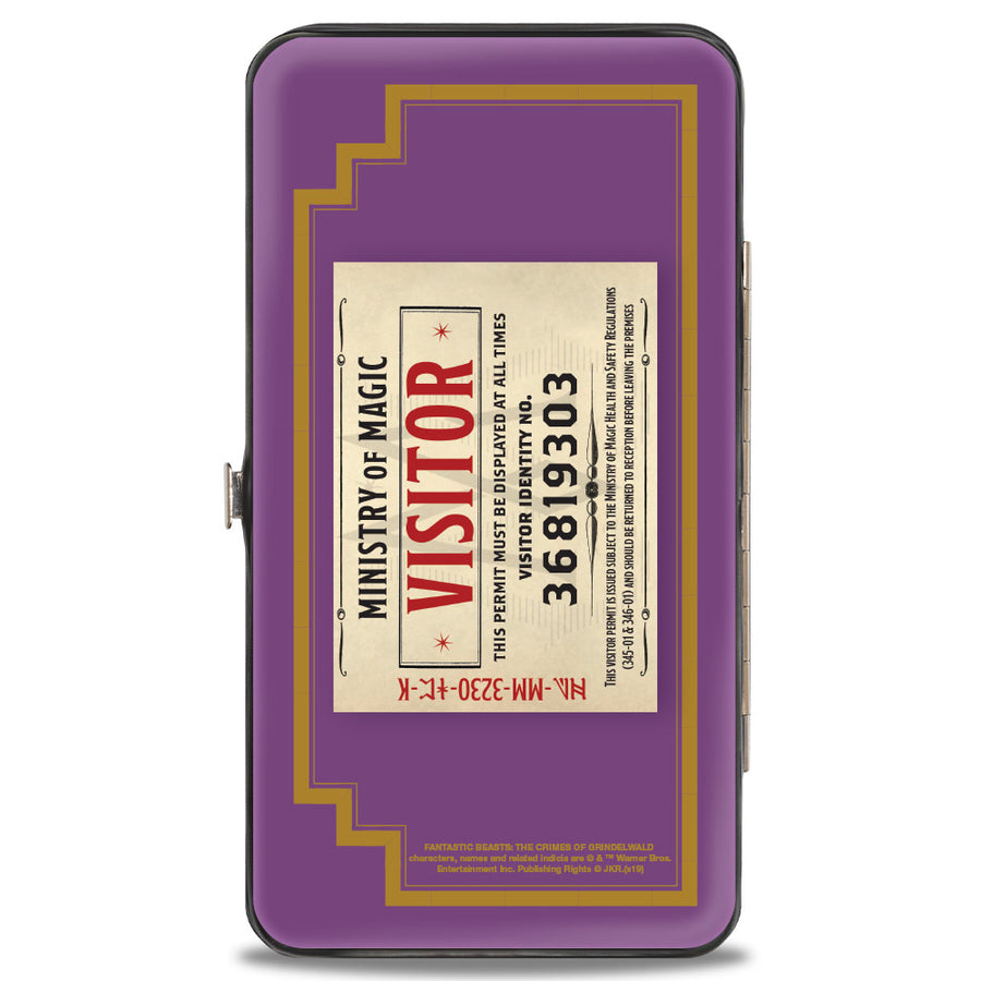 Hinged Wallet - Fantastic Beasts The Crimes of Grindelwald MINISTRY OF MAGIC Icon + VISITOR Pass Purple Gold Multi Color