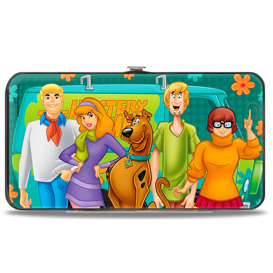 Hinged Wallet - Scooby Doo 5-Character Group Pose w Mystery Machine Turquoise Blues Orange