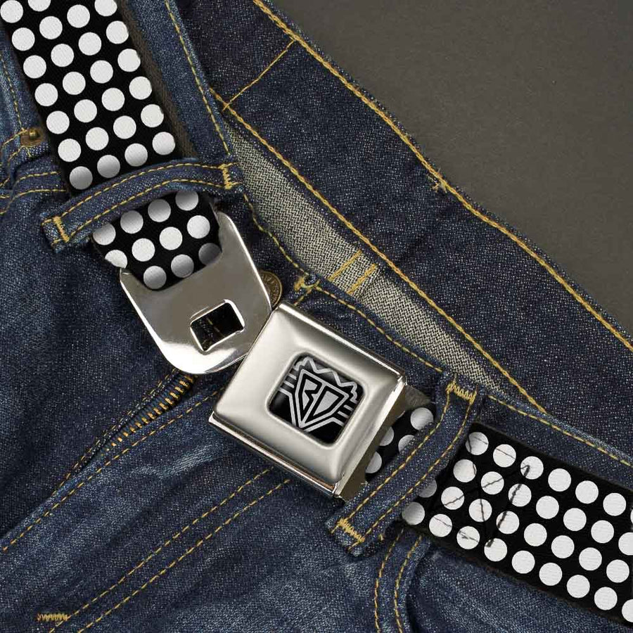 BD Wings Logo CLOSE-UP Full Color Black Silver Seatbelt Belt - Mini Polka Dots Black/White Webbing