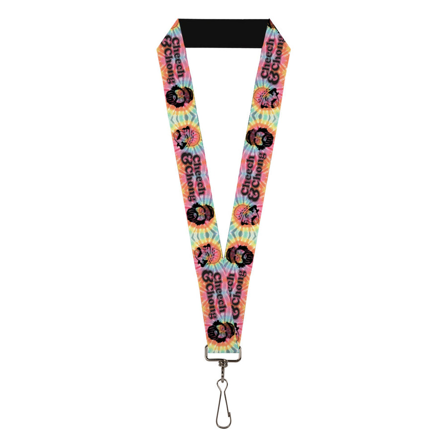 "Lanyard - 1.0"" - CHEECH & CHONG Caricature Faces HEY MAN AM I DRIVING OK? Tie Dye Multi Color Black"