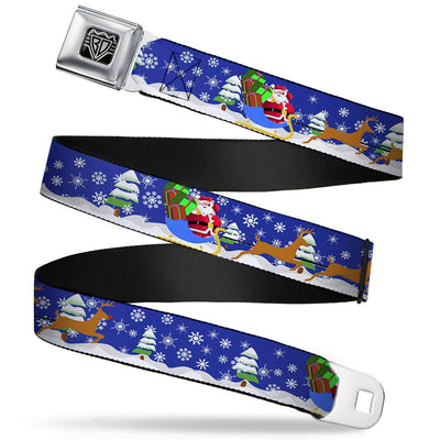 BD Wings Logo CLOSE-UP Full Color Black Silver Seatbelt Belt - Santa & Reindeers Webbing