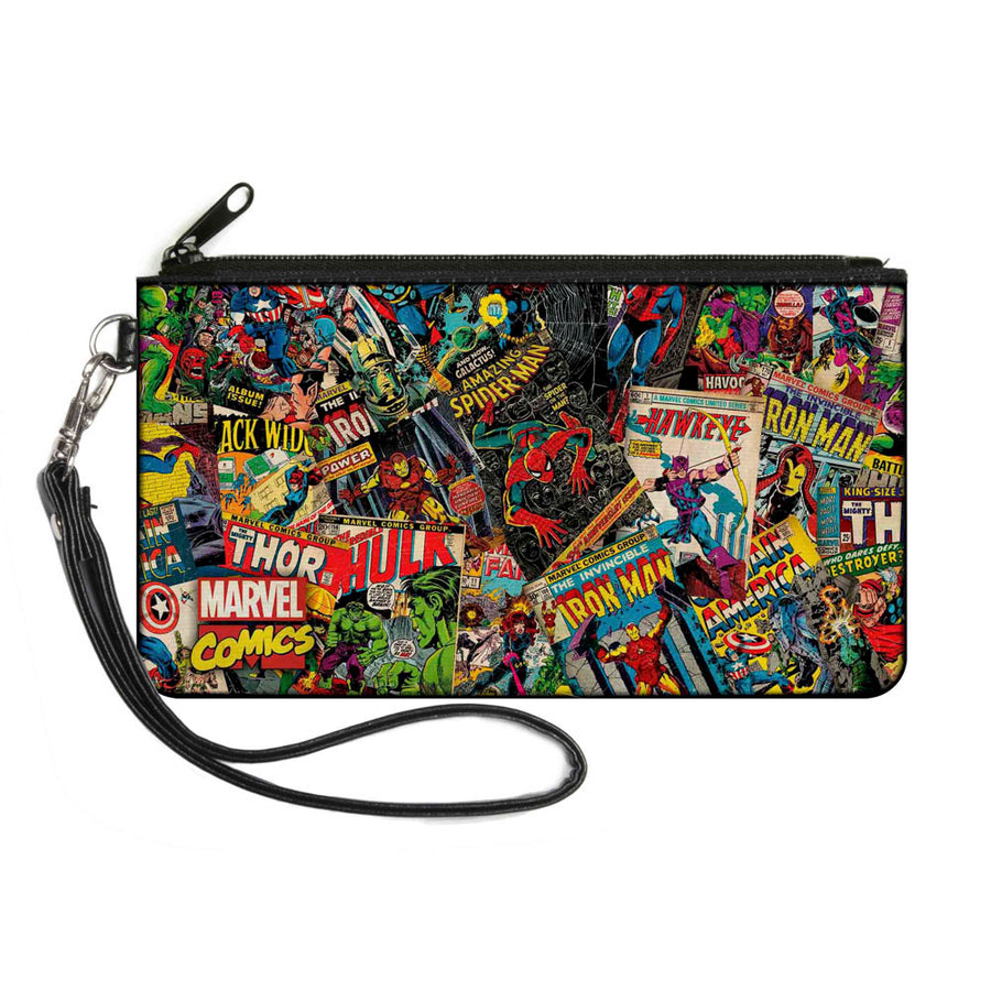 MARVEL COMICS Canvas Zipper Wallet - SMALL - Retro Marvel Comic Books Stacked2