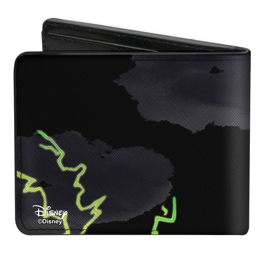 Bi-Fold Wallet - Maleficent Smiling Sketch Lightning Clouds Black Grays Greens