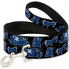 Dog Leash - Onward Barley/Unicorn/Guinevere Icons/Stars Black/Gray/Blues