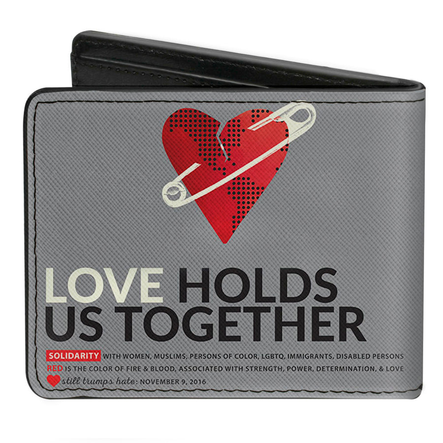 Bi-Fold Wallet - LOVE HOLDS US TOGETHER Safety Pin Heart Grays Red Black