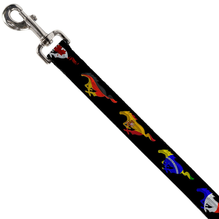 Dog Leash - Mustang Silhouette Black/International Flags