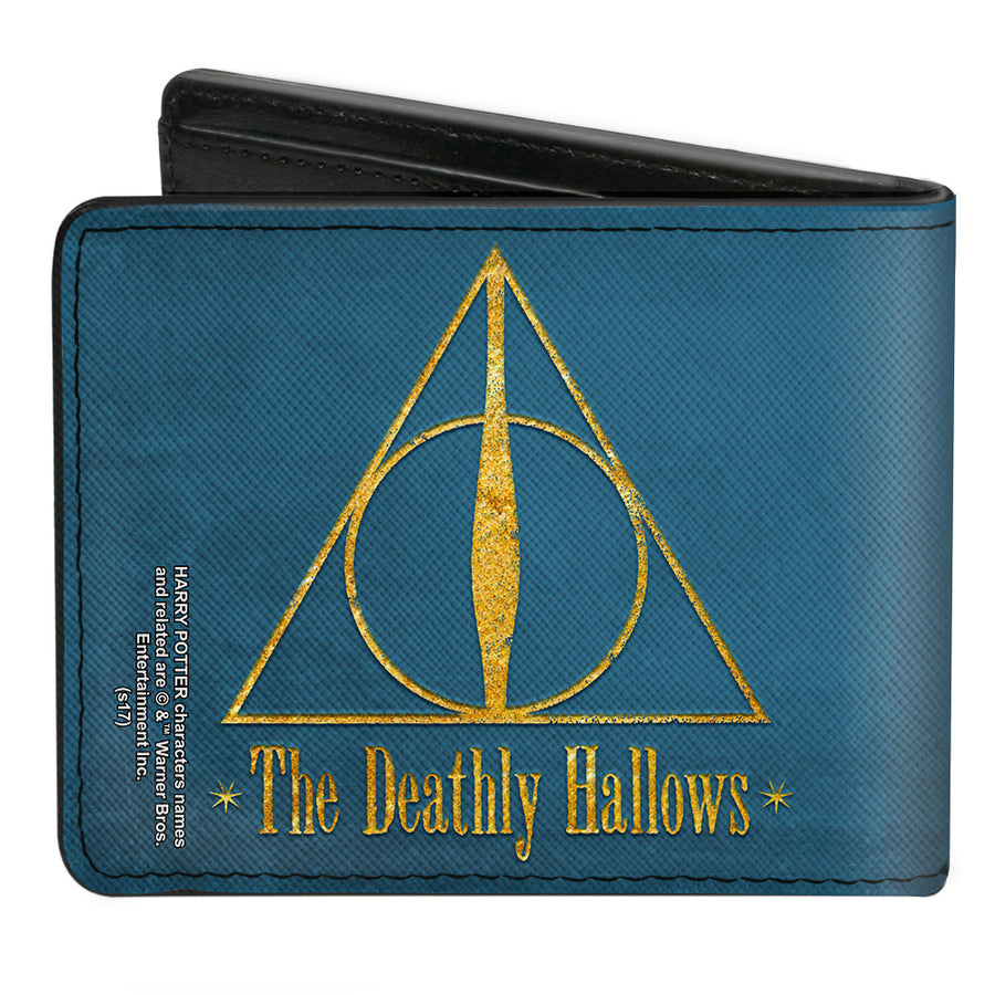 Bi-Fold Wallet - THE DEATHLY HALLOWS Symbol Blue Gold