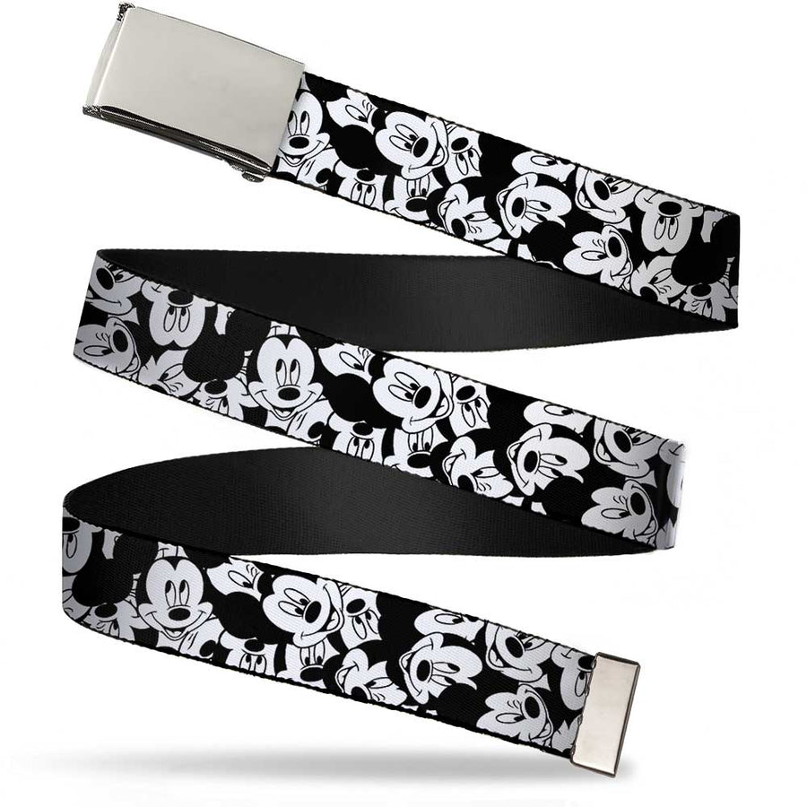 Chrome Buckle Web Belt - Mickey Mouse Expressions Stacked White/Black Webbing