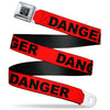 BD Wings Logo CLOSE-UP Black/Silver Seatbelt Belt - DANGER Text Red/Black Webbing