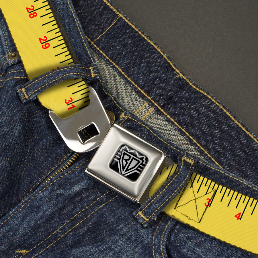 BD Wings Logo CLOSE-UP Full Color Black Silver Seatbelt Belt - Measuring Tape Inches + Centimeters Webbing