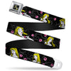 Sleeping Beauty SB Full Color Black Gray Yellow Seatbelt Belt - Sleeping Beauty Heart of Darkness Poses/Roses Black/Gray/Pinks Webbing