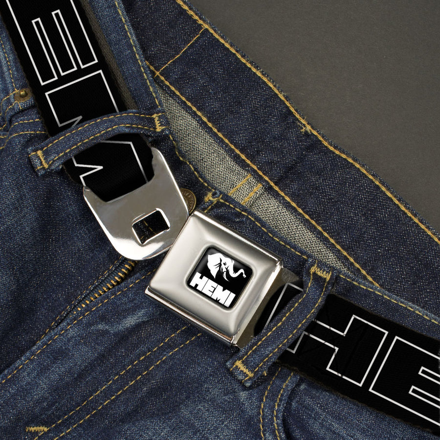 HEMI Elephant Logo Full Color Black/White Seatbelt Belt - HEMI Bold Outline Black/White Webbing