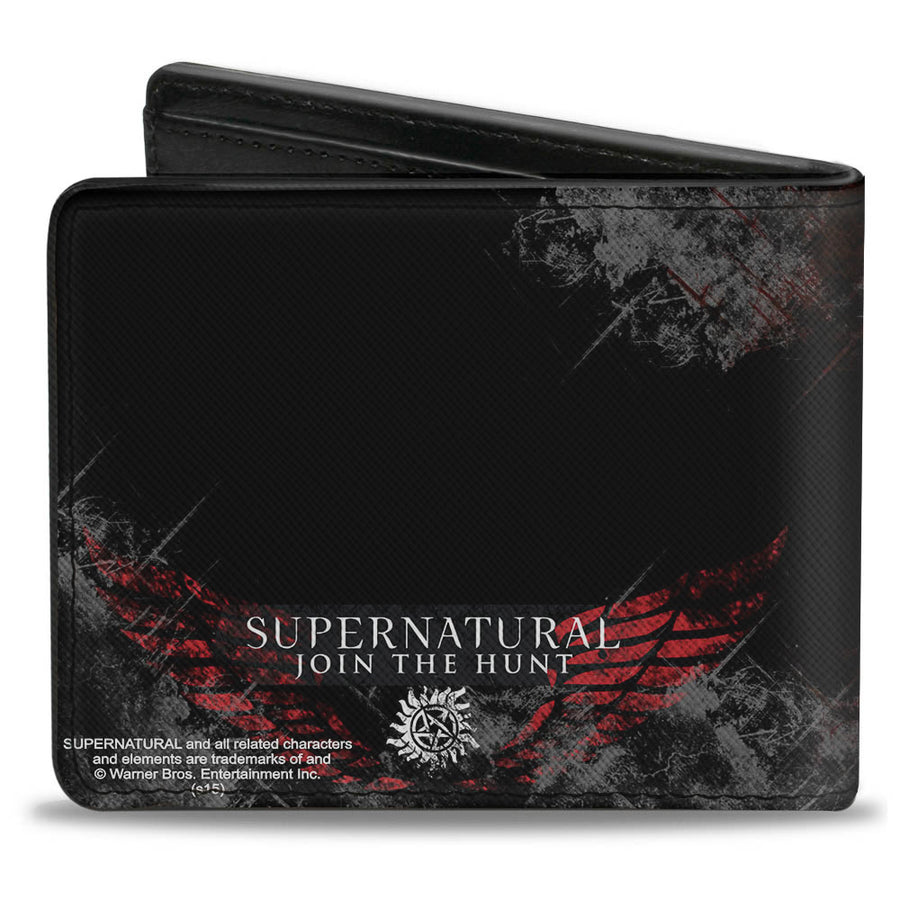 Bi-Fold Wallet - Dean Pose1 THIS IS ALL KINDS OF WRONG + SUPERNATURAL Black Grays Red White