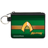Canvas Zipper Wallet - MINI X-SMALL - AQUAMAN Classic Icon Scales Stripe Green Golds