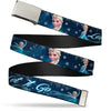Chrome Buckle Web Belt - Elsa the Snow Queen Poses/Snowflakes LET IT GO Blues/White Webbing