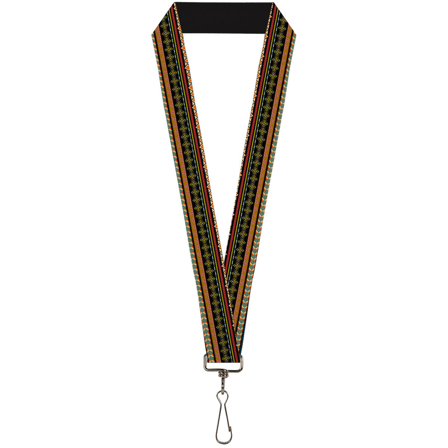 "Lanyard - 1.0"" - Aztec5 Reds Blues Greens Yellows"