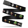 Black Buckle Web Belt - Looney Tunes 5-Character Mug Shots Black/White Webbing