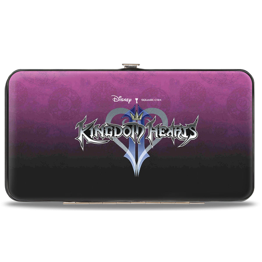 Hinged Wallet - Kingdom Hearts II Donald Sora Goofy Group Pose Symbols Scattered Pink-Fade