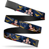Black Buckle Web Belt - Wonder Woman 3-Poses/WW Logo/Stars Blue/Yellow/White Webbing