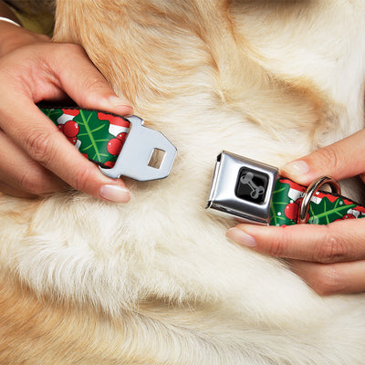 Dog Bone Black/Silver Seatbelt Buckle Collar - Snowy Holly Stripe Reds/White/Greens