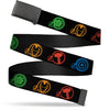 Black Buckle Web Belt - Marvel Avengers Superhero Logos Black/Multi Color Webbing