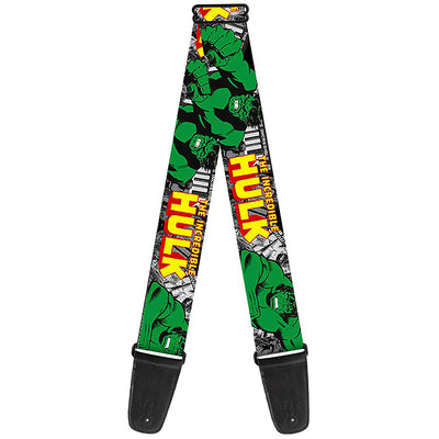 MARVEL COMICS Guitar Strap - THE INCREDIBLE HULK Action Poses Stacked Comics