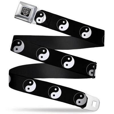 BD Wings Logo CLOSE-UP Full Color Black Silver Seatbelt Belt - Yin Yang Symbol Black/White Webbing