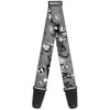 Guitar Strap - Nightmare Before Christmas Jack & Sally Cemetery Scene Gray Black White