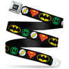 DC Round Logo Black/Silver Seatbelt Belt - Justice League Superhero Logos Webbing