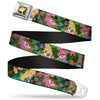 Alice in Wonderland THIS WAY Sign Flowers Full Color Seatbelt Belt - Alice & Cheshire Cat Poses/Flowers Webbing