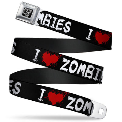 "BD Wings Logo CLOSE-UP Full Color Black Silver Seatbelt Belt - I ""Heart"" ZOMBIES Bloody Splatter Black/White/Red Webbing"