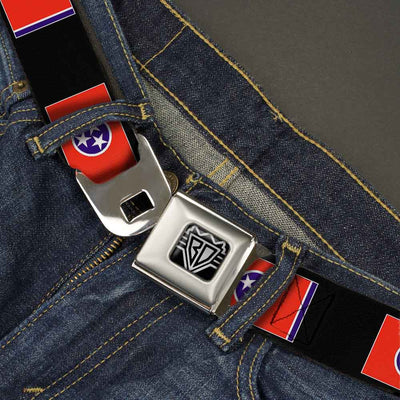 BD Wings Logo CLOSE-UP Full Color Black Silver Seatbelt Belt - Tennessee Flags/Black Webbing