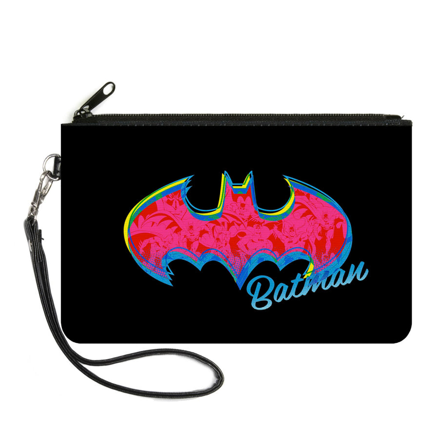 Canvas Zipper Wallet - LARGE - BATMAN Icon Batman Pose Fill Black Yellows Blues Pinks