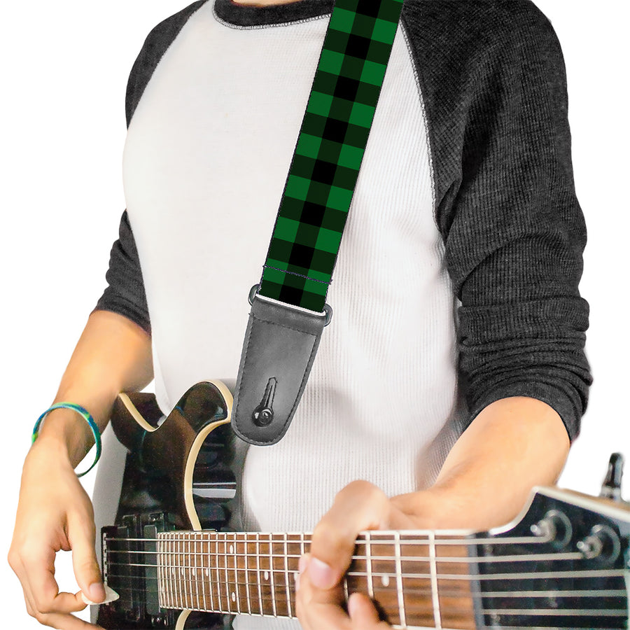 Guitar Strap - Buffalo Plaid Black Green