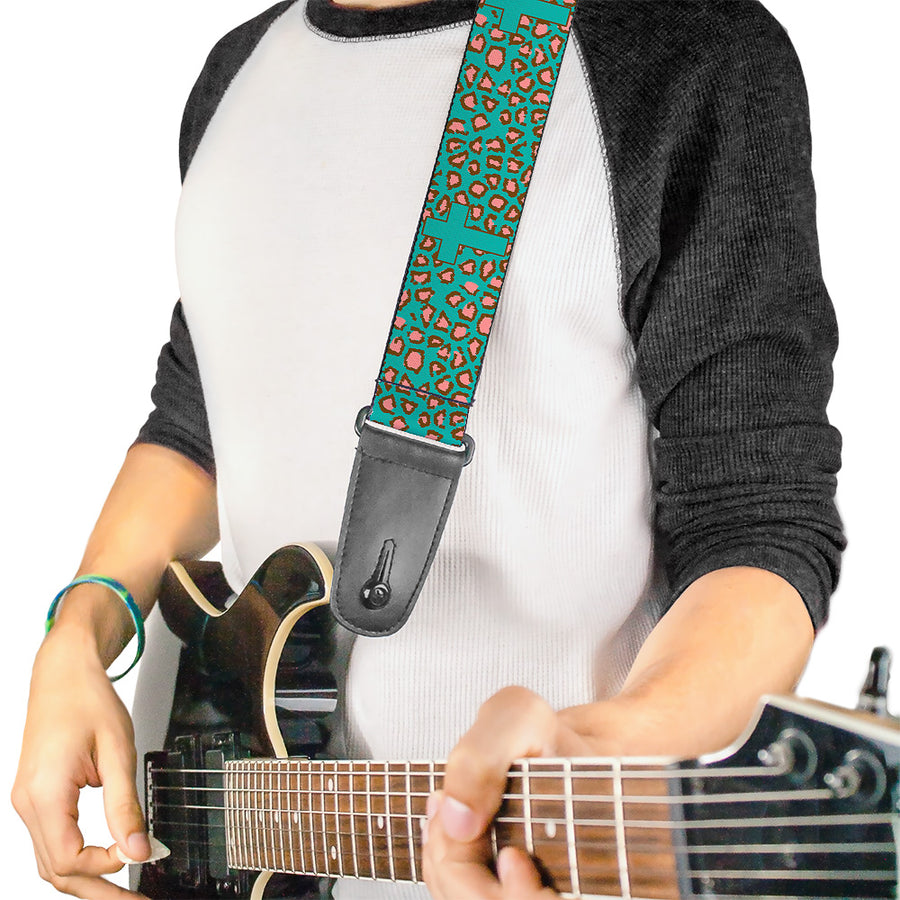 Guitar Strap - Cross Repeat Leopard Turquoise Pink