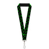 "Lanyard - 1.0"" - Question Mark Scattered2 Black Neon Green"