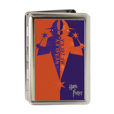 Business Card Holder - LARGE - Harry Potter WEASLEY & WEASLEY Wizard Logo FCG Orange-Red Purple